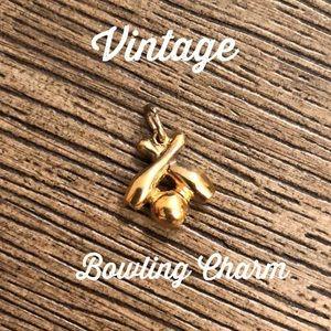 Vintage Bowling Charm Bracelet Pendant Pins & Ball